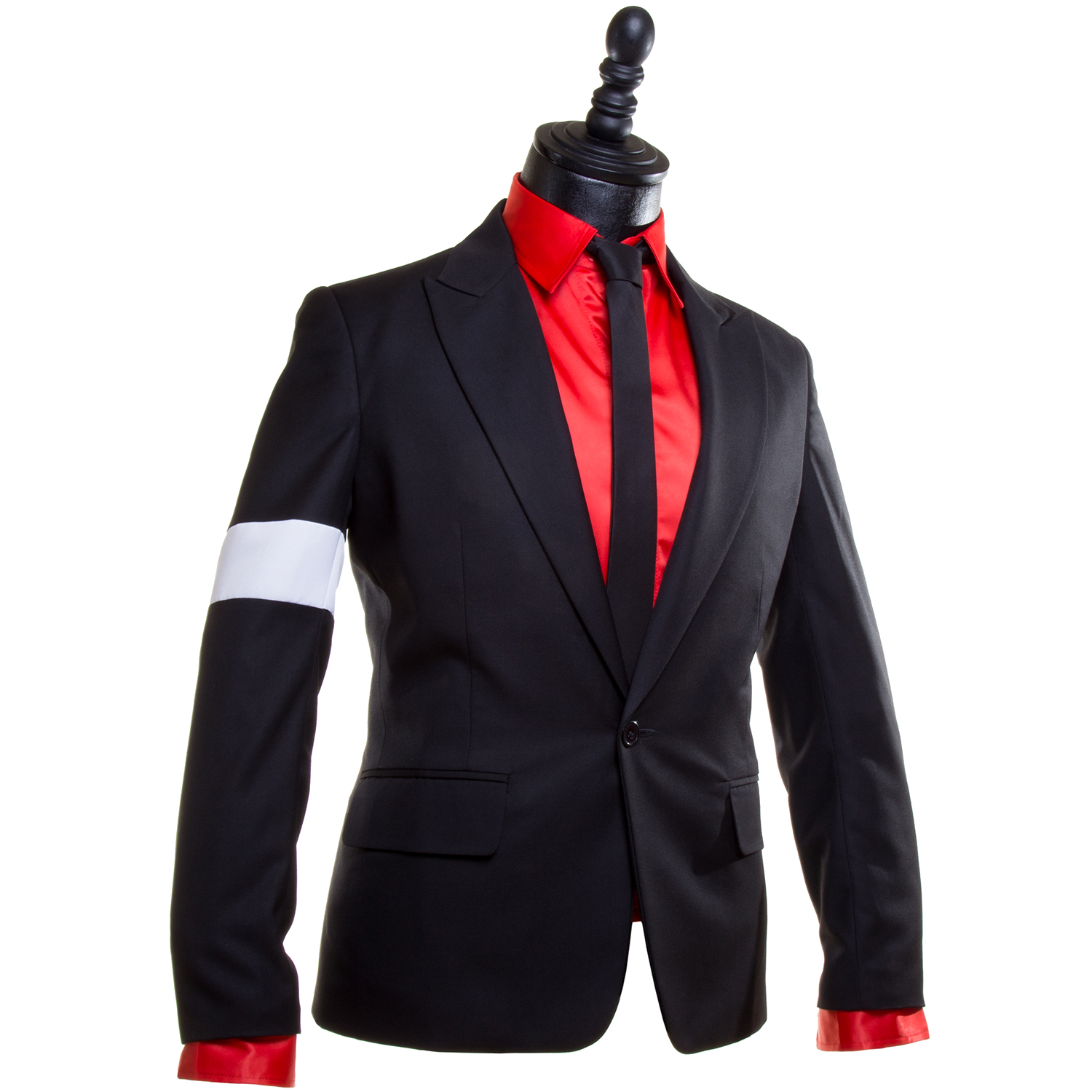dangerous black suit jacket with white armband � mj
